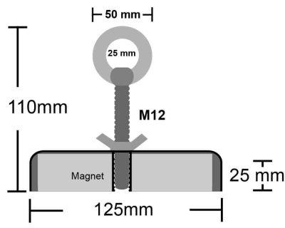 600 kg magneet, 600 kg vismagneet, grote sterke magneet